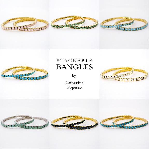 Catherine Popesco stretch crystal bangles.