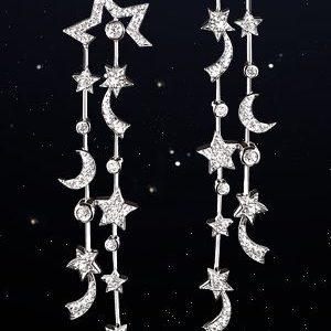 Chanel Comète 18k White Gold and Diamond Drop Earrings 4w