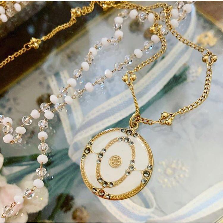 vintage pendant necklace, catherine popesco, white pendant