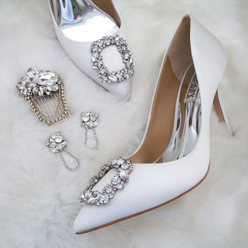 Badgley Mischka Cher Bridal Heels, Erin Cole Bridal Accessoreis