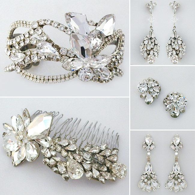 Erin Cole bridal jewelry, earrings, cuff, bridal hair comb