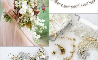 Complete your Fall Wedding look with fabulous bridal headpieces, jewelry and accessories.  Shown are bridal hair accessories and jewelry from Debra Moreland for Paris, hair vine by Justine M. Couture, ear cuff from Pansey & Jameson, beaded handbag by Moyna and our own lace wedding garter.