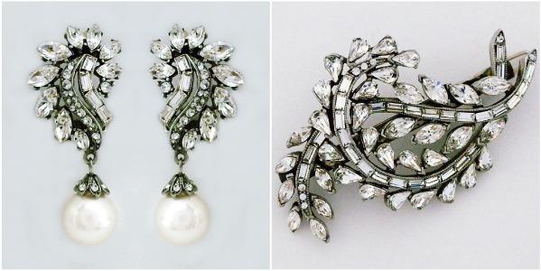 Ben Amun Deco Glam Pearl Drop Earrings & Deco Crystal Barrette