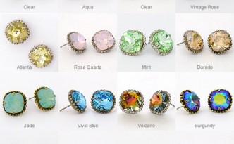 sorrelli earrings, stud earrings, crystal, many colors