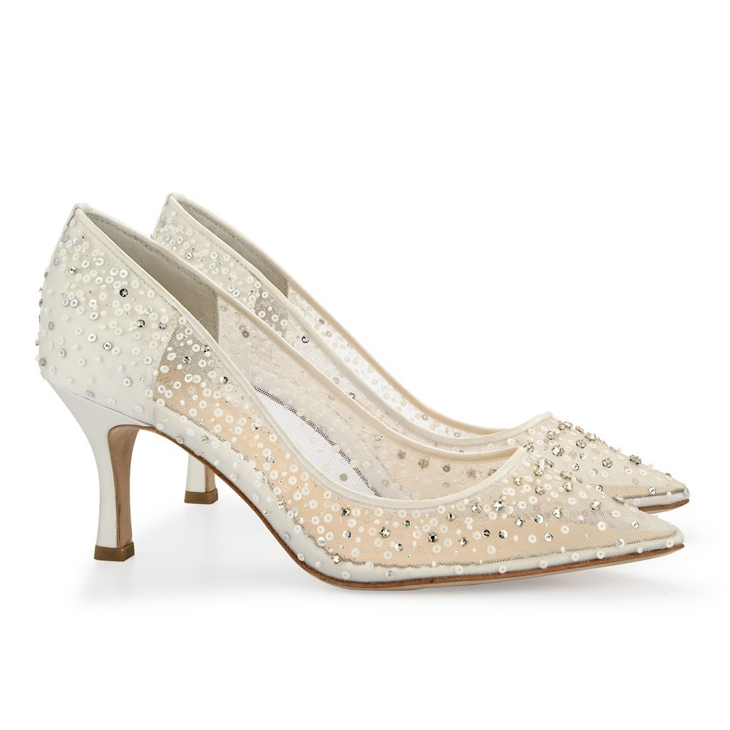 low heeled wedding shoes wedding shoes ivory sequin 3 bridal 5619
