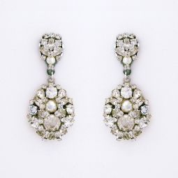 Large Crystal Drop Earrings With Pearl Accent