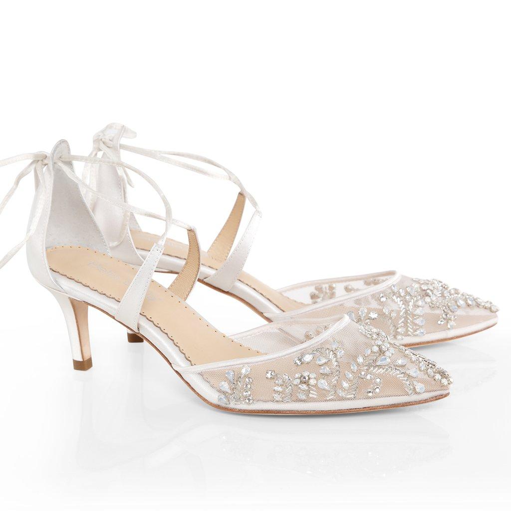 Bella Belle Frances Wedding Shoes Low Heel Crystal Bridal Shoes