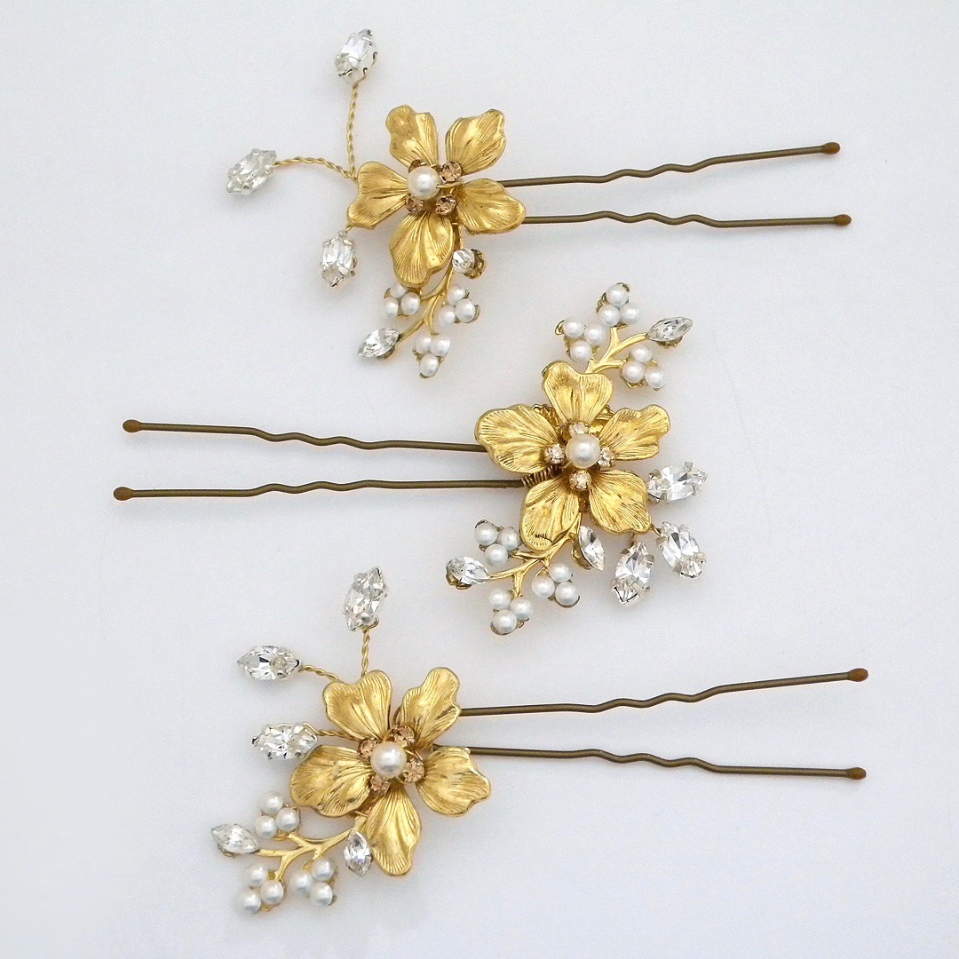 Laura Jayne Bridal Headpieces Gold Floral Hair Pin Set