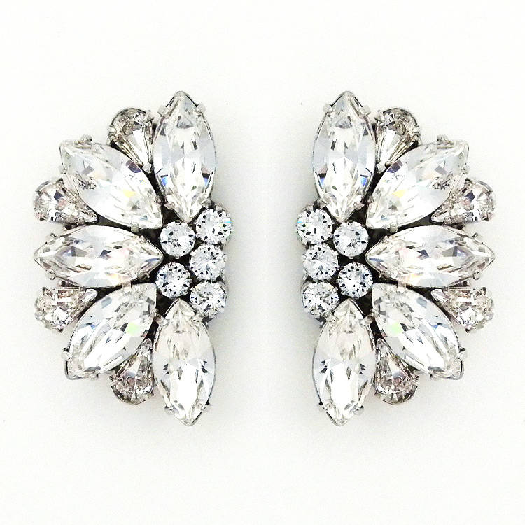 Hollywood Glam Large Fan Shaped Post Earrings