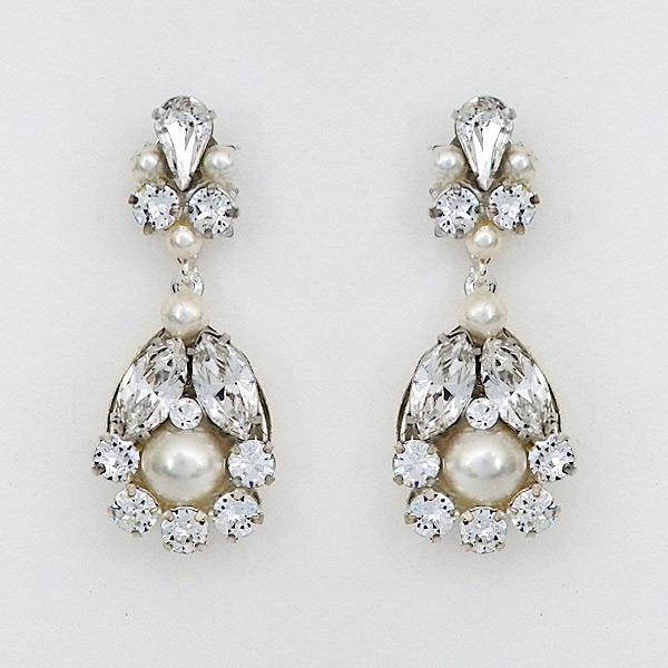 Baby Chandelier Earrings With Pearls, Bridal Chandelier Earrings With Pearls