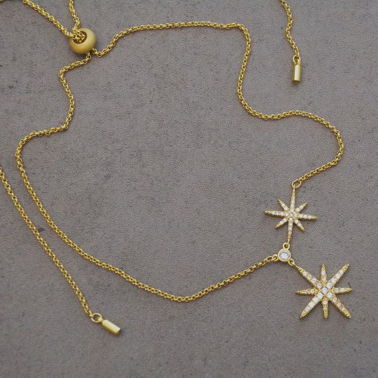Be Je Designs Fashion Jewelry Double North Star Pendant Necklace Gold
