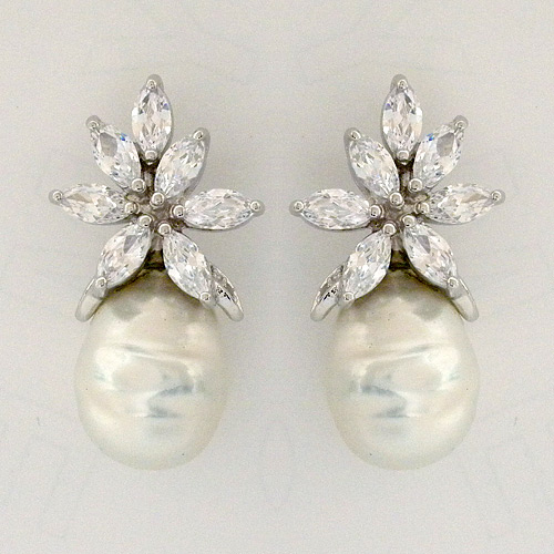 Baroque Pearl Earrings With Cz Design