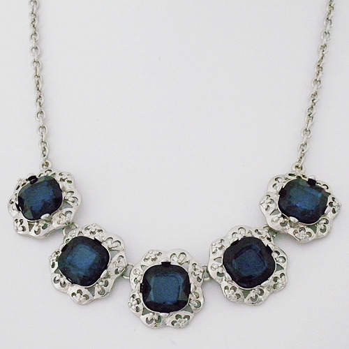 Costume Jewelry | Vintage Sapphire Crystal Necklace, Blue