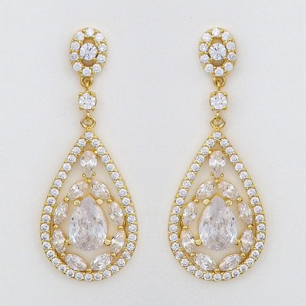 Delicate Gold Cz Teardrop Earrings