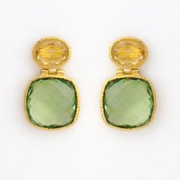 Citrine Green Amethyst Drop Earrings