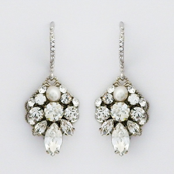 Pee Filigree Crystal Bridal Earrings With Pearl