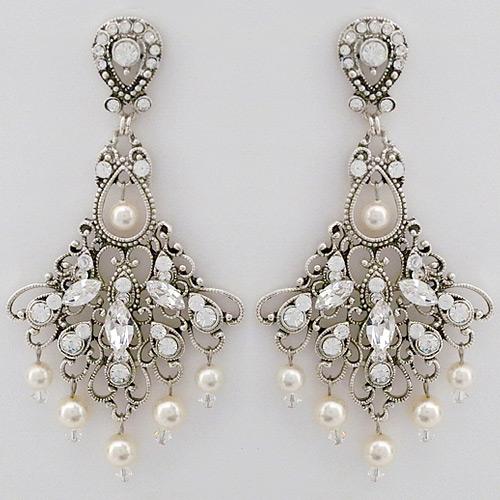 Laura Jayne Bridal Earrings Vintage Wedding Chandelier