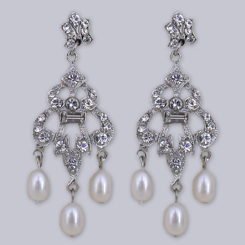 Small Chandelier Earrings With Pearl Drops