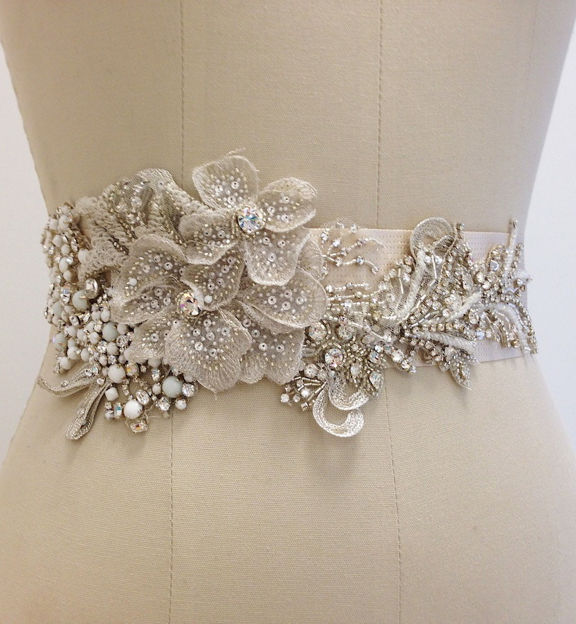 Erin Cole Bridal Belts Sashes Beaded Bridal Sash With