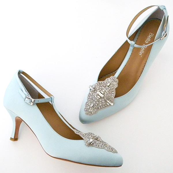 Annalise Pale Blue Vintage Wedding Shoes