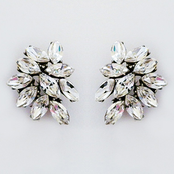 Marquis Crystal Cer Clip On Earrings