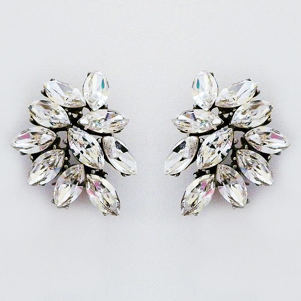 ben amun earrings marquis cluster clip on earrings