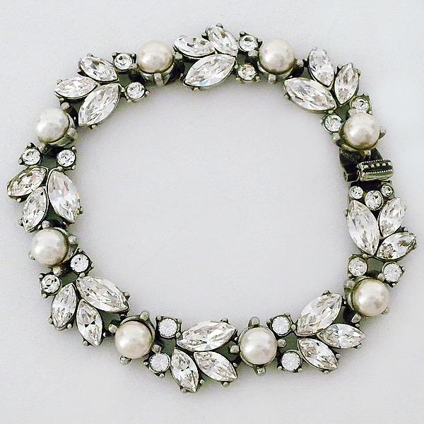 Vintage Crystal Pearl Bridal Bracelet