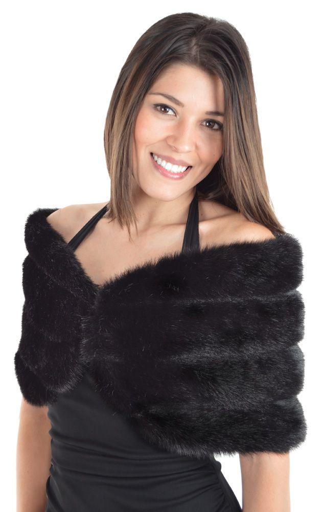 Faux Furs Evening Wear Black Faux Fur Wrap