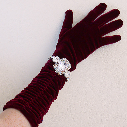 Shirred velvet elbow length evening gloves pictures