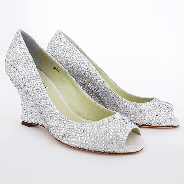 Emma Crystal Wedge Bridal Shoes Size 7 SALE