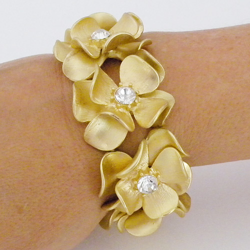 Destination Bridal Jewelry Flower Bracelet Cuff Gold
