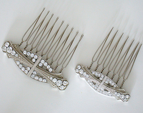 Art Deco influenced hair combs can be worn in a variety of ways with just