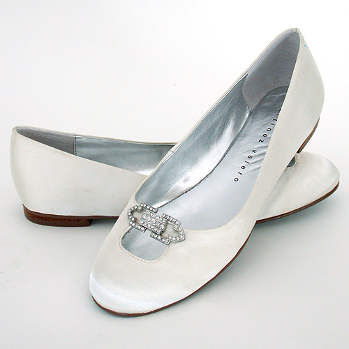 Ivory Flat Bridal Shoes Jada Ivory Flats with Vintage Ornament