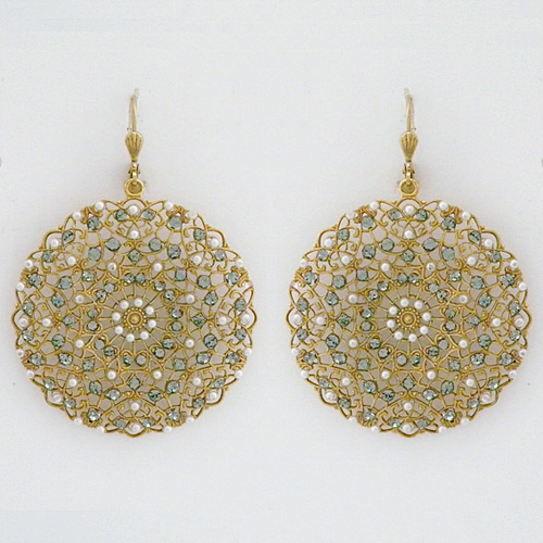 Large Round Filigree Vintage Earrings With Pearls