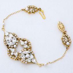 Wedding bracelets crystal bridal bracelets pearl bracelets michelle delicate gold bracelet with pearls junglespirit Choice Image