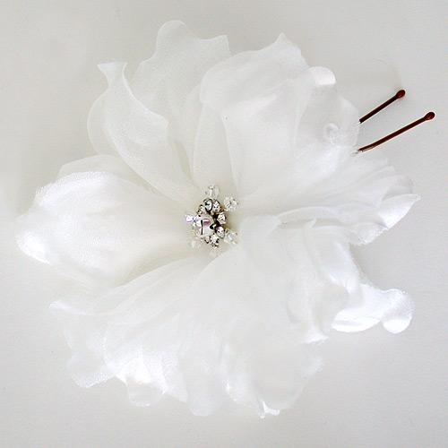 Laura jayne bridal sophia flower hairpin organza white ivory sophia ivory flower hair pin mightylinksfo