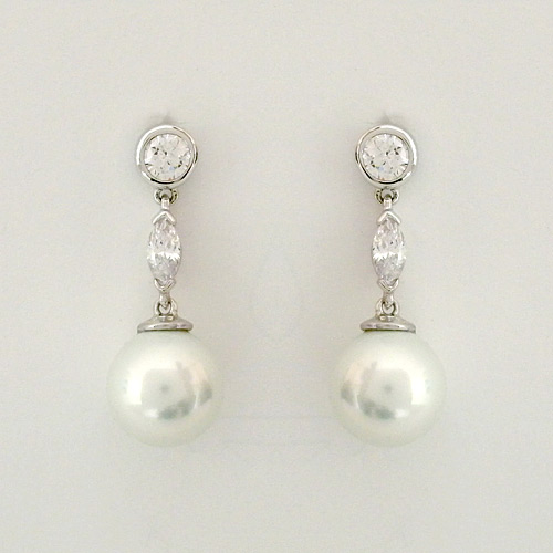 Pearl Dangle Earrings With Cz
