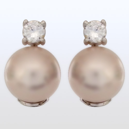Pink Pearl With Cz Earrings