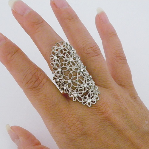 Fashion Rings Filigree Flower Ring Silver Crystal