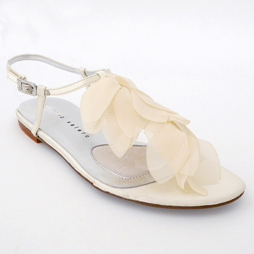 Flat Bridal Shoes On Sale Sandals Sonja Ivory Flat Sandal with Organza