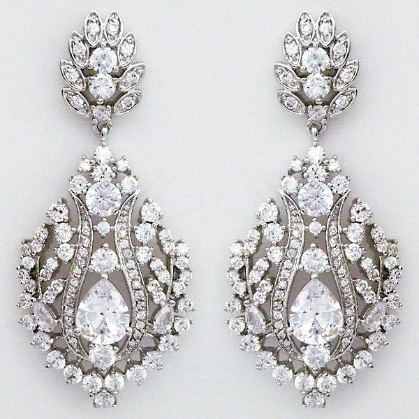 Bridal cz jewelry statement chandelier earrings cz chandelier earrings mozeypictures Image collections