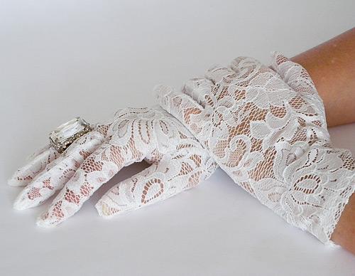 white lace gloves wrist length bridal wedding